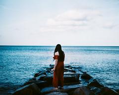 158/365 Poseidon Awaits (Emily Moy Photography) Tags: poseidonawaits portrait environmental nature ocean atlantic reverebeach massachusetts sea beach rocks beauty mothernature environmentalportrait conceptual blue girl beautiful newengland sky cinematic mood emotion wind await suspense 365 365project emilymoy emilymoyphotography