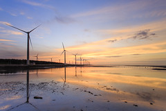 (samyaoo) Tags: sunset red sea sky reflection beach windmill clouds canon wind taiwan  taichung    turbine wetland windpower       gaomei    kaomei samyaoo