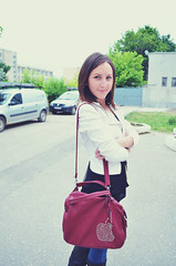 Ana-Maria (vese') Tags: street red portrait white apple girl fashion bag friend outdoor blazer anamaria