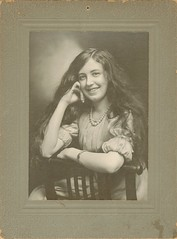 A girl from Kankakee (sctatepdx) Tags: portrait smile illinois happygirl kankakee vintagedress oldportrait vintageportrait vintagenecklace kankakeeillinois antiquenecklace