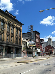(Shane Henderson) Tags: road street old blue sky sign architecture clouds streetlight pittsburgh banner lamppost worn northside weathered distressed pawnshop mexicanwarstreets masonichall alleghenygeneralhospital gardentheater gardentheaterblock
