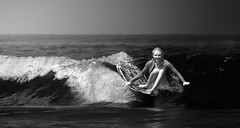 Off-Center (McSnowHammer) Tags: bw france water ir happy mono team wave surfing longboard infrared pro roxy rider biarritz swimwear 2012 menard coline