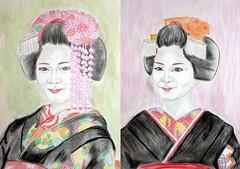 sweet Maiko (GionGeiko (Fujiko)) Tags: drawings maiko geiko geisha gion fujiko zeichnungen satsuki misedashi katsuna