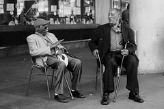 Trouble Men (Andre Buno) Tags: street city people bw white toronto black cane square photography nikon downtown event conversation yonge wisdom dundas d5100