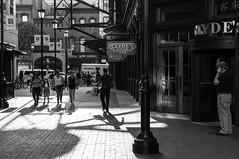Gallery Place (DMD67) Tags: street sea bw man monochrome 35mm washingtondc foods alley nikon women chinatown gallery place cellphone galleryplace legal clydes brinks childen d5000 groip nikkorafs35mm