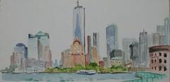 Freedom Tower (softfurn Susan) Tags: nyc newyorkcity watercolor painting sketch waterfront harbour drawing wallstreet gotham governorsisland lowermanhattan castlewilliams freedomtower urbansketchers nycurbansketchers