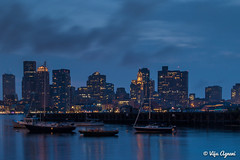 Boston Skyline at dusk , as seen from Piers Park (Viju Agnani's Photography) Tags: skyline bluehour beantown bostoneastpiersparksunset
