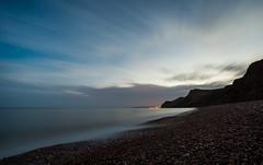 Eype Warp (Olly Plumstead) Tags: light sea summer cloud seascape motion blur night canon dark landscape evening spring long exposure mark ii dorset 5d olly 1740 swoosh swash plumstead eype 5d2