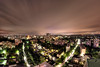 Berlin at night (erikvonotto) Tags: city longexposure sky panorama house berlin rooftop skyline architecture night germany landscape lights nikon darkness cloudy lounge smooth wideangle 8mm ghetto walimex dri hdr manfrotto dunkelheit d90 2013