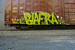 Biafra. 4DK. CBS. (Urban Camper.) Tags: brick green art st rock metal wall train paul grey paint steel cities minneapolis twin rail ground boxcar slime aerosol graffit booger kater inc bnsf aerosolart cbs biafra 455 idontknow cbscrew ohde biafrainc 4dk