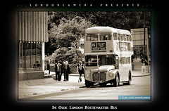 London Routamaster Bus (LondonCamera) Tags: road street uk red england bus london classic sepia traffic britain busstop routemaster