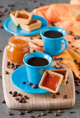 Cake with jam (Oxana Denezhkina) Tags: blue orange cup coffee cake vertical closeup breakfast recipe table cookie sweet napkin tasty nobody delicious biscuit homemade snack pastry mug apricot jam preserve gastronomy confiture conserve fruitspread