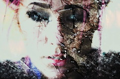 (emmakatka) Tags: pink portrait broken glass face self dark hair eyes exposure overlay double lips incamera emmakatka