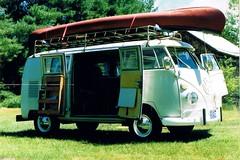1967 VW Westfalia camper, Spring 1991 (63vwdriver) Tags: roof 2 bus vw vintage volkswagen canoe rack lincoln 1967 type camper microbus westfalia accessory