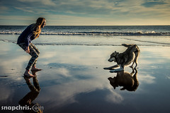 beautiful girl and dog play in on a reflecting pool at Stinson Beach california (tibchris) Tags: california blue woman dog beach water girl clouds reflections donna mujer husky pretty chica play femme mulher linda bonita preciosa belle jolie bella frau stinsonbeach hermosa fille mdchen  ragazza  schnes stinson schne  pige      smuk kvinde  hbsche        snapchris