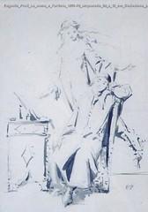 Eugenio Prati La musa e l'artista 1873-78 acquerello 28 x 13 cm Collezione privata