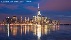 Night Reflections (P1280388) (Michael.Lee.Pics.NYC) Tags: world park blue sunset red white newyork reflection skyline night river one pier newjersey long exposure manhattan center spire hour wtc hudson lower trade hoboken a
