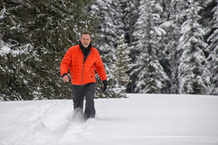 Breaking Trail (dbushue) Tags: trees winter snow mountains mike snowshoe nikon montana husband trail hubby 2014 breakingtrail bannocktrail {vision}:{people}=099 {vision}:{face}=099 {vision}:{outdoor}=0968