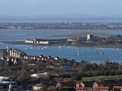Portchester Castle - Bird's Eye Perspective (fstop186) Tags: sea seascape water landscape lumix harbour horizon isleofwight portsmouth portchestercastle stmaryschurch gosport portsolent microfourthirds micro43rds panasonicdmcg3
