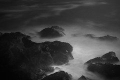 rocks at lighthouse painted with torch (Lincoln Beddoe) Tags: longexposure nightphotography blackandwhite bw blackwhite waves paintingwithlight portmacquarie nightocean blackandwhiteart midnorthcoast tackingpoint nightwaves tackingpointlighthouse paintinglightwithatorch portmacquariephotographer portmacquarieartist portmacquarieportmacquarieartistportmacquarieartportmacquariephotographer