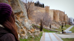 Ele (danielavpbu) Tags: road city trees winter people cold tree green history nature girl hat hair way countryside back spain colours natural culture calm turismo muralla cultural avila turism contry