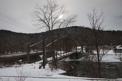 IMG_6749 (sage.scented_dreams) Tags: bridge winter snow storm ice water river vanishingpoint gloomy cloudy overcast blizzard juno newmilford snowtracks thecalmafterthestorm