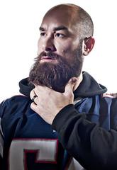 Fear the beard (DanOhh) Tags: light portrait self studio beard flash patriots superbowl bearded selfie snoot strobist