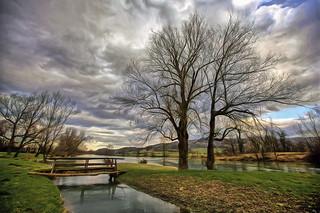 Romantic place by the river at Kostanjevica na Krki, Slovenia
