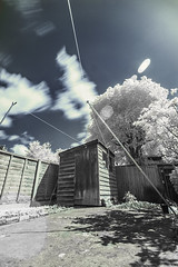 Untitled. (blackwoodse6) Tags: blue white clouds fence ir sony shed bluesky infrared foilage falsecolour hoyar72 720nm sonya700
