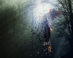 Particles In The Woods (BellaDonnaSchweitzer) Tags: woman woods long dress explosion levitation particles lightbeam