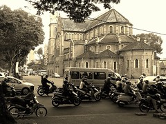 Saigon Notre-Dame Cathedral,  (Nh th c B Si Gn) (P.C. Alice) Tags: street travel roof church sepia architecture nikon asia religion vietnam hdr 2014 p300 favorites30 favorites40 buddharupa nikonp300