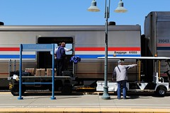 Baggage Operations - The Zephyr at Martinez, CA (Laurence's Pictures) Tags: california railroad travel station pacific union rail railway amtrak national locomotive passenger corp martinez