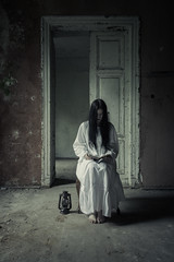 Lady Macbeth. (Tomasz Aulich) Tags: door light portrait people urban woman white building abandoned lamp face wall architecture lady hair book chair nikon rust shadows dress floor poland clothes balck manor urbex d