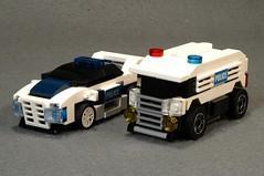 POLICE CARS WN000 & WK110 (Lancaster_Vanderbilt) Tags: lego legoracers 4wide racers moc original tinyturbo car policecar 8211