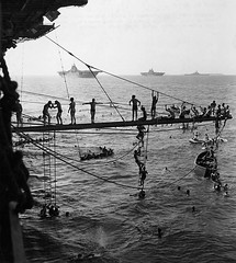 Crewmen of a U.S. Navy aircraft carrier in the Marshalls after laying siege to and conquering Roi Island in the Kwajalein atoll [2048  2283] April 18, 1944 #HistoryPorn #history #retro http://ift.tt/20KxcZZ (Histolines) Tags: history island us aircraft navy retro april timeline after 18 marshalls kwajalein carrier siege 1944 roi laying atoll 2048 conquering  vinatage 2283 crewmen historyporn histolines httpifttt20kxczz