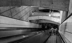 Walking Left (Torsten Reimer) Tags: vienna wien blackandwhite architecture underground subway lights austria sterreich europa europe tunnel down ubahn escalators rolltreppe schottenring at fujifilmx100t