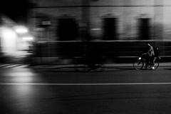 P1060774 (ono-send@i) Tags: street bw italy bicycle night lumix panasonic ferrara panning lf1