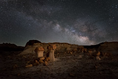 Valley of Dreams II (Sandra Herber) Tags: newmexico night stars astrophotography hoodoos milkyway valleyofdreams ahshislepahwilderness