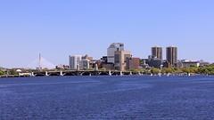 Charles River (oxfordblues84) Tags: city bridge blue sky building water boston skyline architecture buildings river charlesriver bluesky longfellowbridge bunkerhillbridge leonardpzakimbunkerhillmemorialbridge 5photosaday