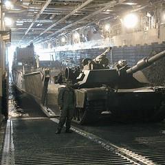 040331-N-5027S-002 (Nelson Dillehunt) Tags: amphibious lcu 1660 offloads abrams m1a1 tank usssaipan lha2 welldeck marine