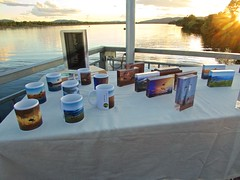 Competition plaques and commemorative mugs laid out for the 2016 ASRA nationals presentations (outback traveller) Tags: gyro kununurra nats2016