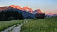 Wettersteingebirge - sunrise (MC-80) Tags: sunrise moonlight sonnenaufgang zugspitze kreuzeck wetterstein alpspitze alpenglhen gerold alpineglow waxenstein wettersteingebirge geroldsee
