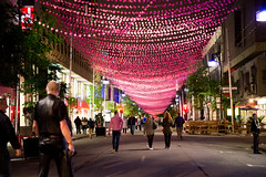 001-pink balls-photo susan moss (The Montreal Buzz) Tags: canada rose quebec montreal rue nuit boules saintecatherine fiert