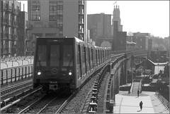 DLR Limehouse (RyanTaylor1986) Tags: light london tower monochrome for transport stock rail railway basin east 106 docklands dlr limehouse hamlets b07