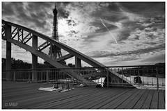 Eiffel Tower for sale (MNP[FR]) Tags: bridge white black paris france tower seine architecture clouds river boat europe noir tour cloudy eiffel jour pont nuage et iledefrance blanc contre fleuve passerelle nuageux balades parisiennes debilly samung nx1 baladesparisiennes