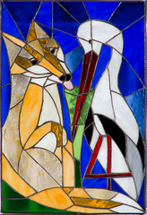 Stained Glass: Fox and Stork Fable (ArneKaiser) Tags: 2ndgrade foxandstork leadedglass projects waldorf art stainedglass flickr