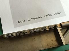 hand-setting from digital layout (interrobang letterpress) Tags: typography helvetica letterpress stationery jamaicaplain handset duplexpaper hahnemhlebugra helveticaregularextended