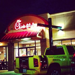 Cross at Chick-fil-A (TypeOneTara) Tags: true truck call christ cross jesus fil chick story his risen chickfila saves crucified hiscall