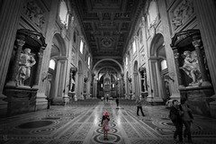 Altro mondo (Mattia S.) Tags: people blackandwhite bw italy black rome roma art church statue architecture landscape italia child arte bambini basilica bn persone chiesa monumenti architettura biancoenero sangiovanni prospettiva baw bambina prospective sangiovanniinlaterano bienne chilf