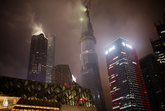 shanghai-tower-cloudy (Raphael Olivier) Tags: china urban cloud fog night shanghai bladerunner apocalypse pudong shanghaitower